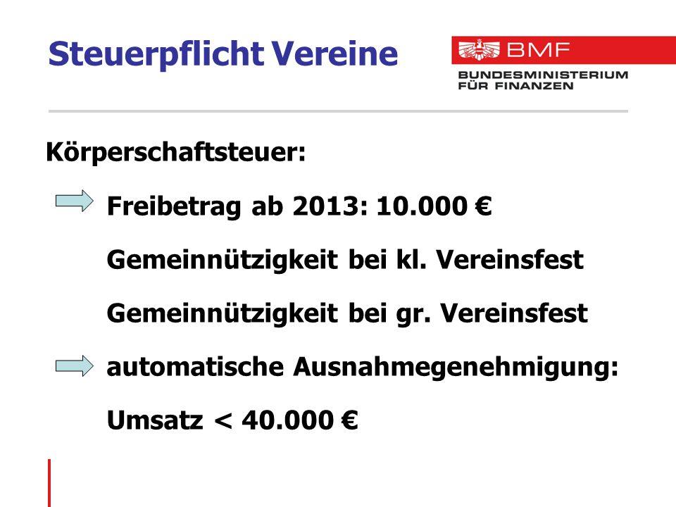 Steuerpflicht Vereine Körperschaftsteuer: Freibetrag ab 2013: 10.000 € Gemeinnützigkeit bei kl.