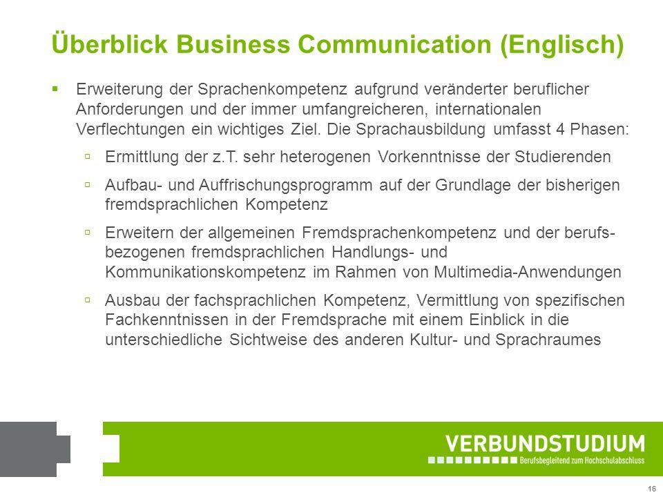 16 Überblick Business Communication (Englisch)  Erweiterung der Sprachenkompetenz aufgrund veränderter beruflicher Anforderungen und der immer umfang