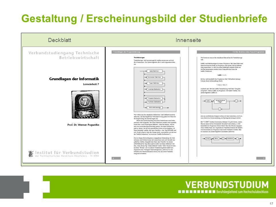17 Gestaltung / Erscheinungsbild der Studienbriefe DeckblattInnenseite DeckblattInnenseite