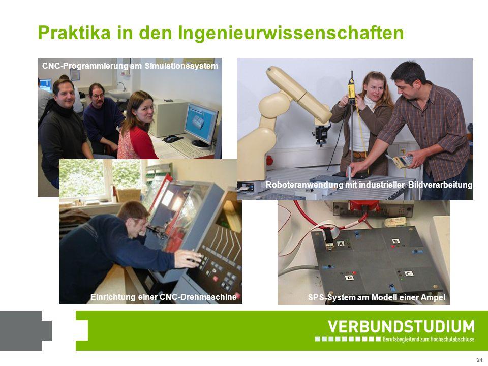 21 SPS-System am Modell einer Ampel CNC-Programmierung am Simulationssystem Einrichtung einer CNC-Drehmaschine Roboteranwendung mit industrieller Bild