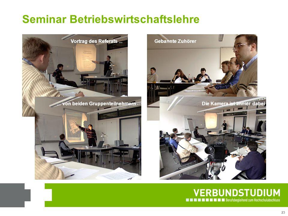 23 Vortrag des Referats...... von beiden GruppenteilnehmernGebannte ZuhörerDie Kamera ist immer dabei Seminar Betriebswirtschaftslehre
