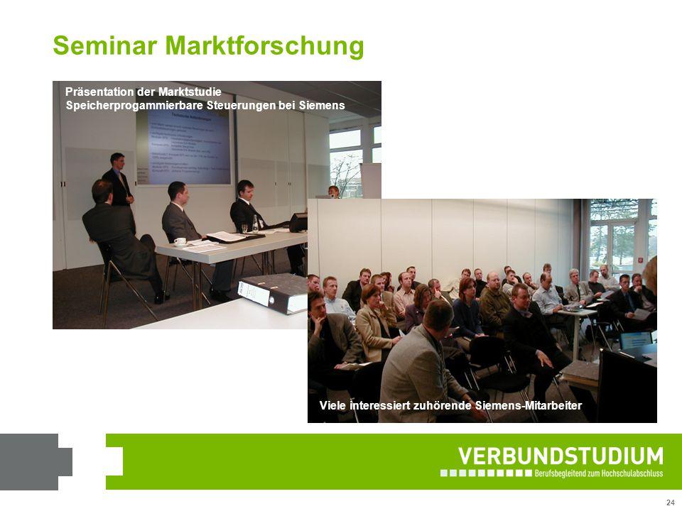 24 Präsentation der Marktstudie Speicherprogammierbare Steuerungen bei Siemens Viele interessiert zuhörende Siemens-Mitarbeiter Seminar Marktforschung