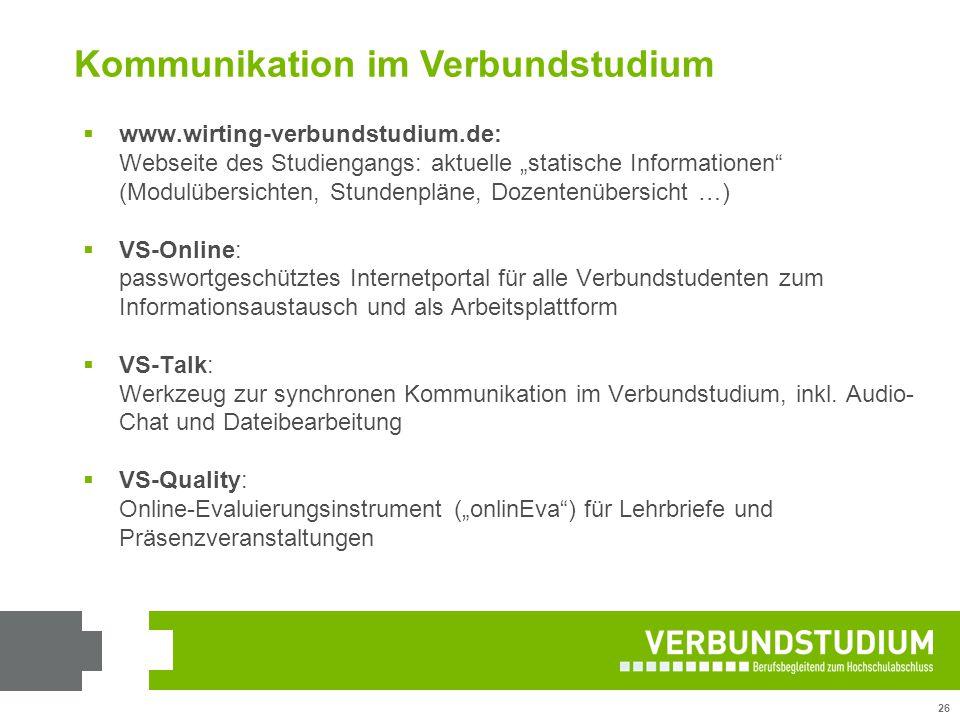 """26 Kommunikation im Verbundstudium  www.wirting-verbundstudium.de: Webseite des Studiengangs: aktuelle """"statische Informationen"""" (Modulübersichten, S"""