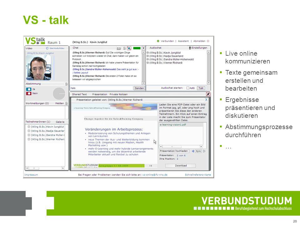 28 VS - talk  Live online kommunizieren  Texte gemeinsam erstellen und bearbeiten  Ergebnisse präsentieren und diskutieren  Abstimmungsprozesse du