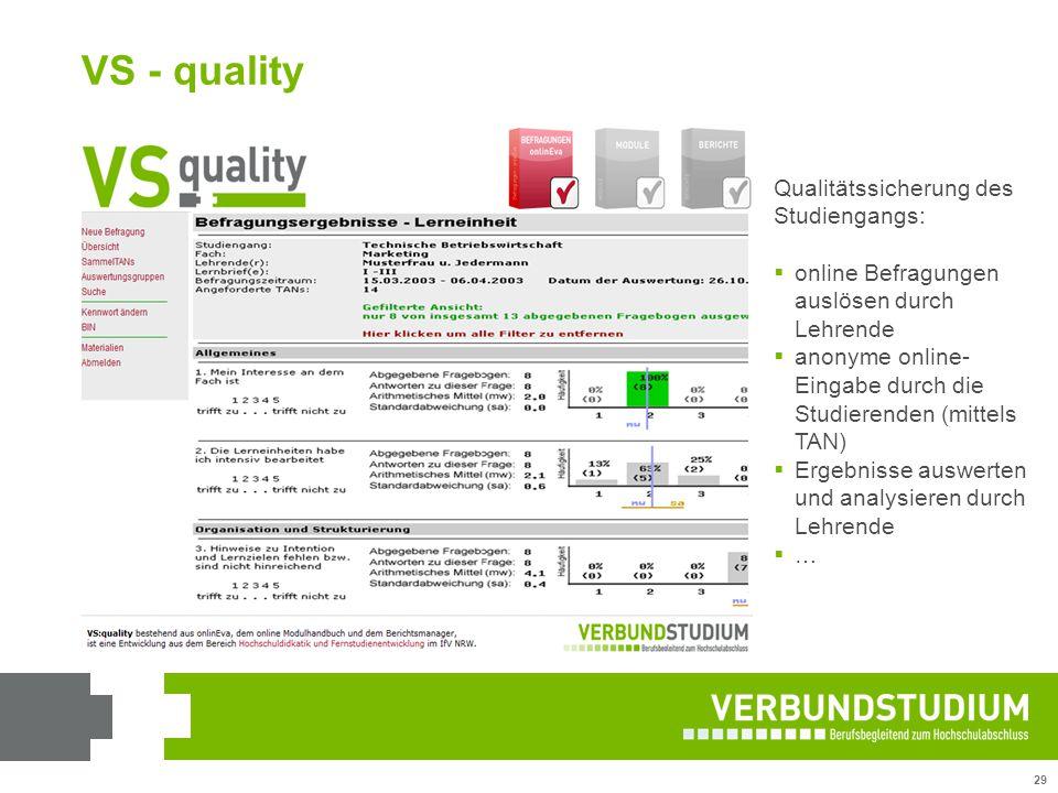 29 VS - quality Qualitätssicherung des Studiengangs:  online Befragungen auslösen durch Lehrende  anonyme online- Eingabe durch die Studierenden (mi