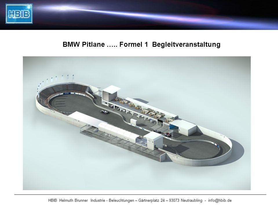 HBIB Helmuth Brunner Industrie - Beleuchtungen – Gärtnerplatz 24 – 93073 Neutraubling - info@hbib.de BMW Pitlane ….. Formel 1 Begleitveranstaltung