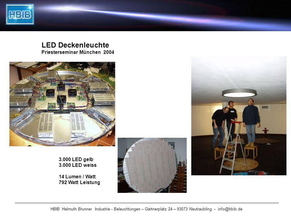 HBIB Helmuth Brunner Industrie - Beleuchtungen – Gärtnerplatz 24 – 93073 Neutraubling - info@hbib.de LED Deckenleuchte Priesterseminar München 2004 3.