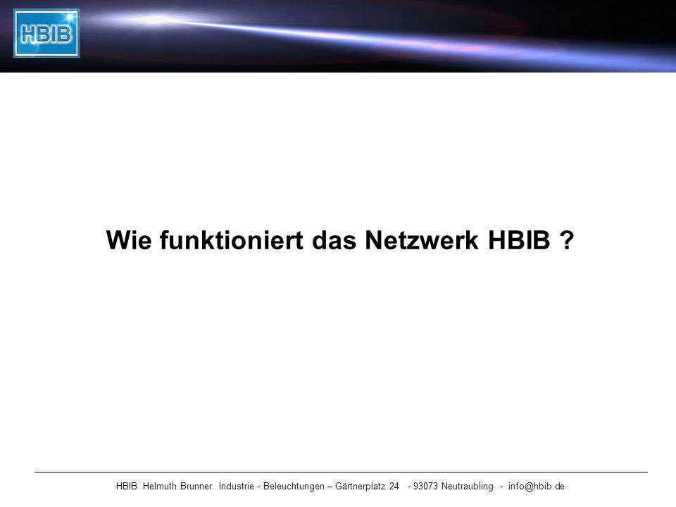 Wie funktioniert das Netzwerk HBIB ? HBIB Helmuth Brunner Industrie - Beleuchtungen – Gärtnerplatz 24 - 93073 Neutraubling - info@hbib.de