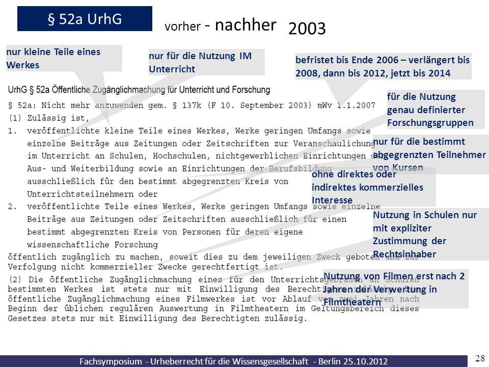 Fachsymposium - Urheberrecht für die Wissensgesellschaft - Berlin 25.10.2012 28 § 52a UrhG vorher - nachher 2003 nur kleine Teile eines Werkes nur für