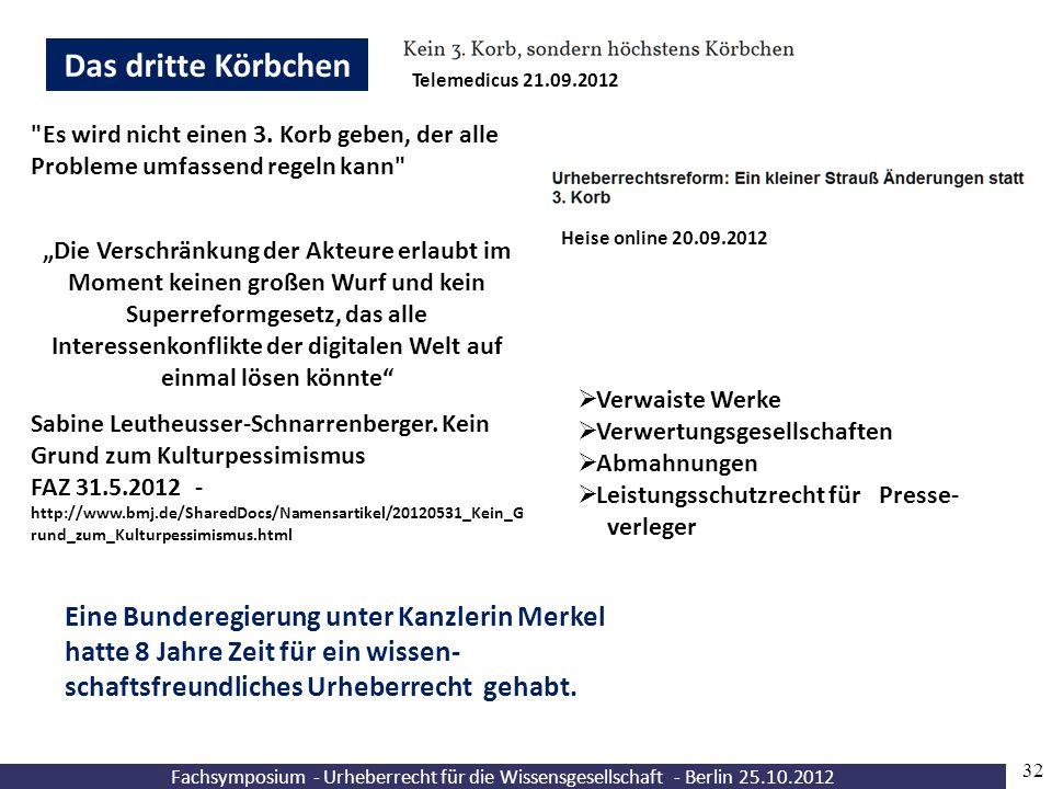 Fachsymposium - Urheberrecht für die Wissensgesellschaft - Berlin 25.10.2012 32