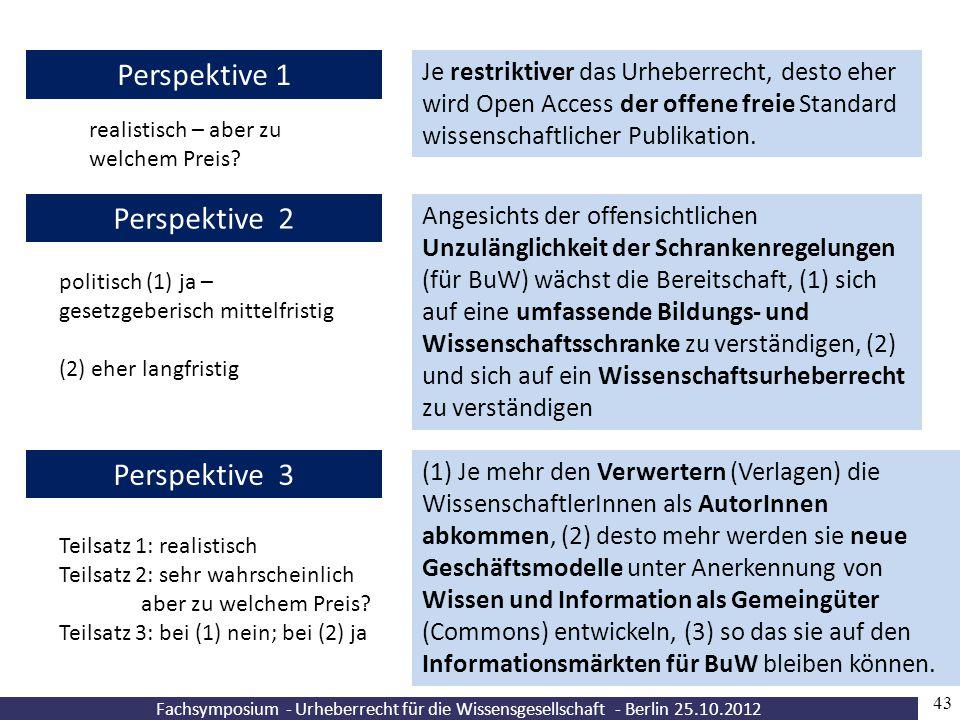 Fachsymposium - Urheberrecht für die Wissensgesellschaft - Berlin 25.10.2012 43 Je restriktiver das Urheberrecht, desto eher wird Open Access der offe