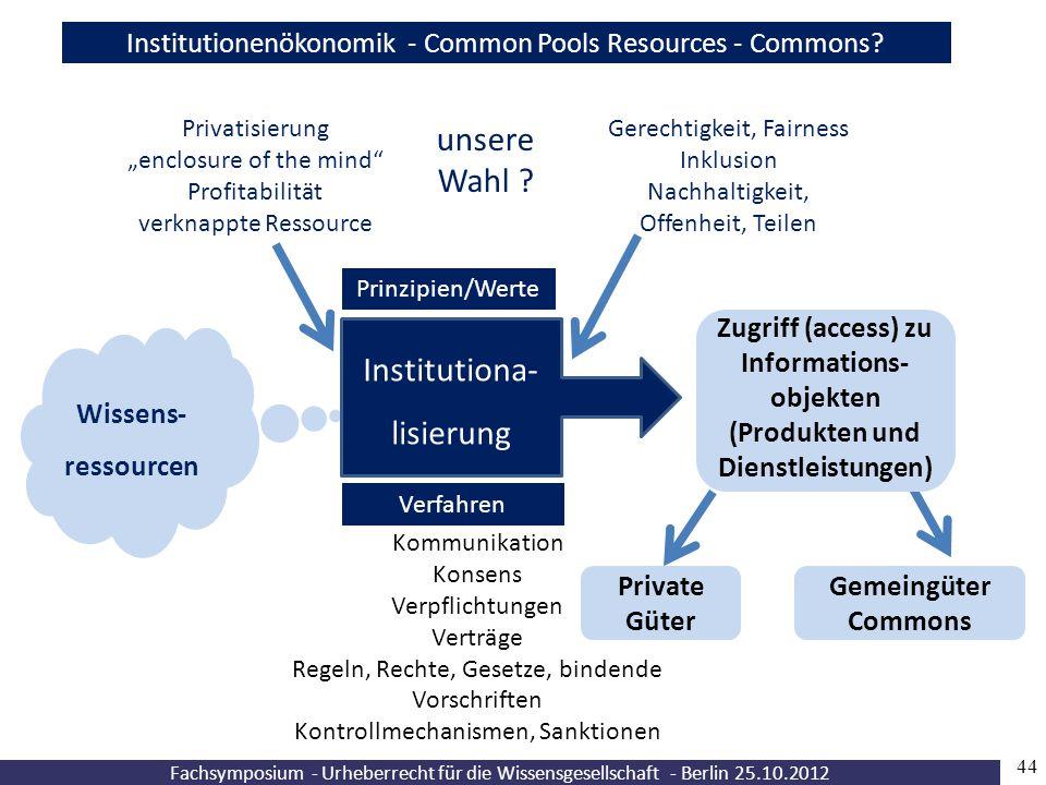 """44 Fachsymposium - Urheberrecht für die Wissensgesellschaft - Berlin 25.10.2012 Wissens- ressourcen Prinzipien/Werte Verfahren Privatisierung """"enclosu"""
