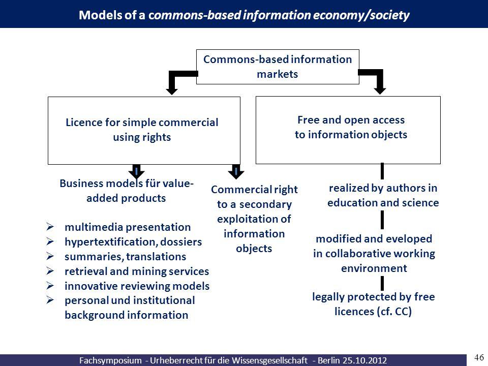 Fachsymposium - Urheberrecht für die Wissensgesellschaft - Berlin 25.10.2012 46 Models of a commons-based information economy/society Business models