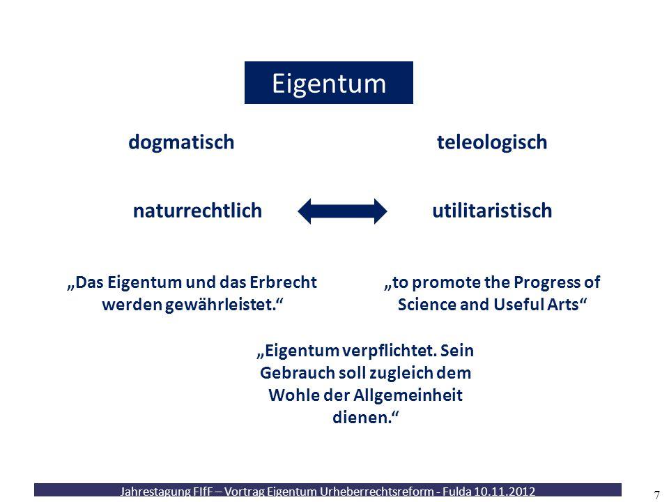 """Jahrestagung FIfF – Vortrag Eigentum Urheberrechtsreform - Fulda 10.11.2012 7 Eigentum dogmatischteleologisch utilitaristischnaturrechtlich """"to promot"""