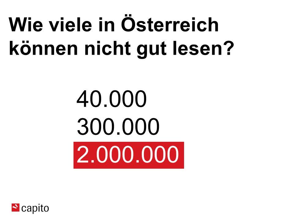 Wie viele in Österreich können nicht gut lesen? 40.000 300.000 2.000.000