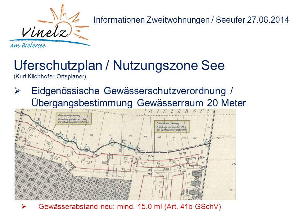 Informationen Zweitwohnungen / Seeufer 27.06.2014 Uferschutzplan / Nutzungszone See (Kurt Kilchhofer, Ortsplaner)  Eidgenössische Gewässerschutzveror