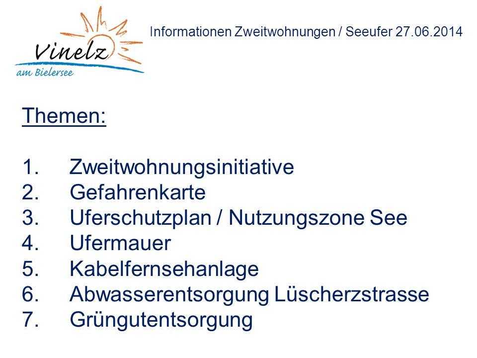 Informationen Zweitwohnungen / Seeufer 27.06.2014 Themen: 1.Zweitwohnungsinitiative 2.Gefahrenkarte 3.Uferschutzplan / Nutzungszone See 4.Ufermauer 5.