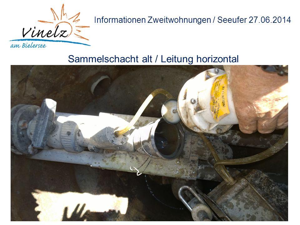 Informationen Zweitwohnungen / Seeufer 27.06.2014 Sammelschacht alt / Leitung horizontal