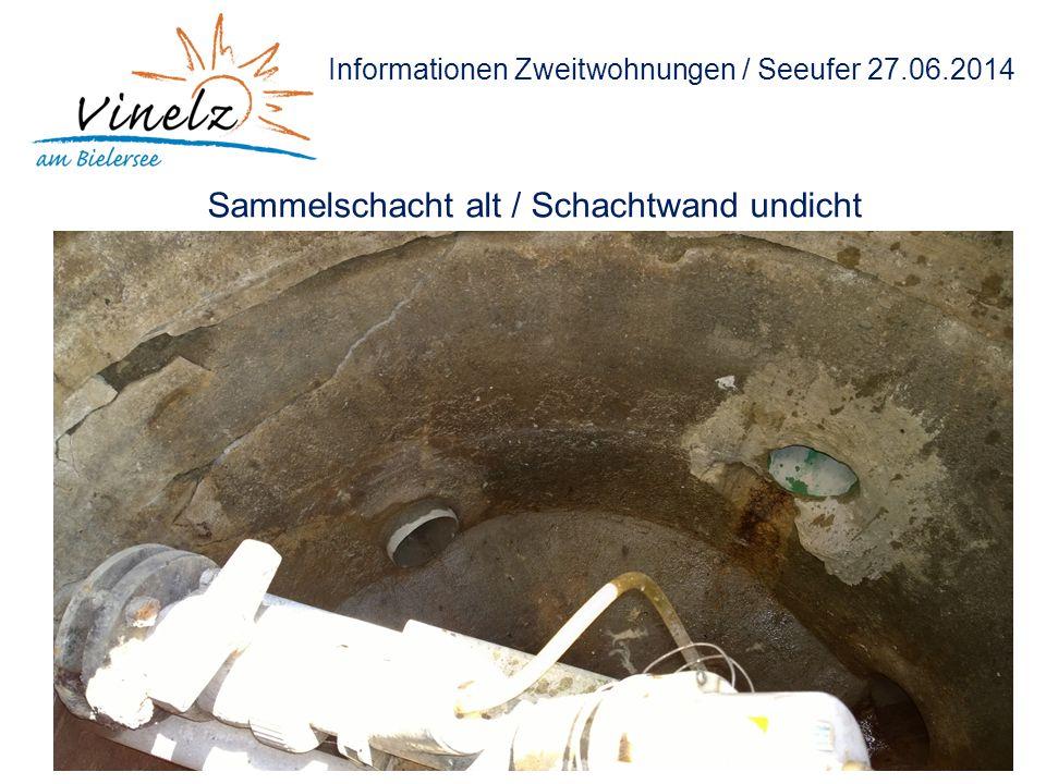 Informationen Zweitwohnungen / Seeufer 27.06.2014 Sammelschacht alt / Schachtwand undicht