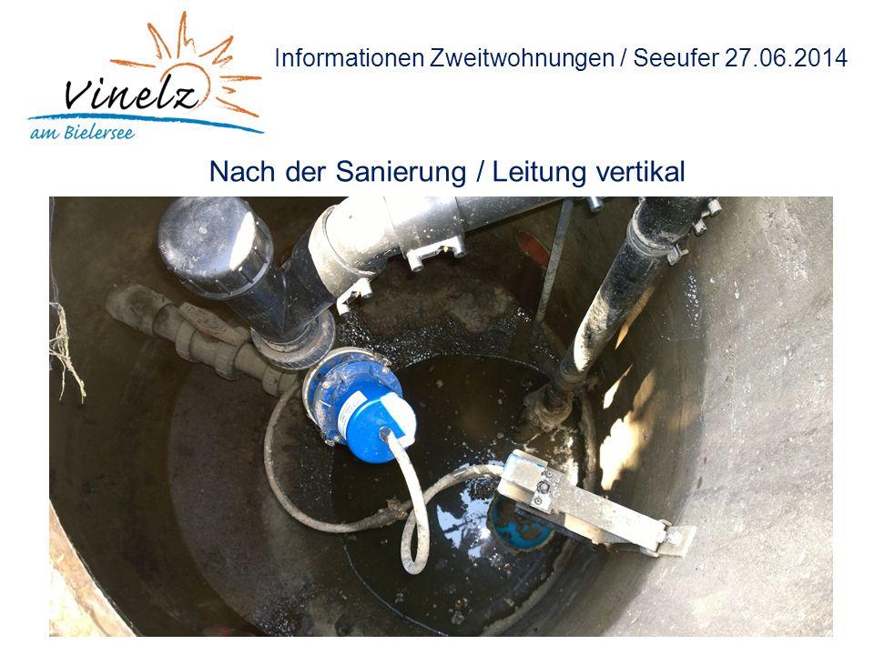 Informationen Zweitwohnungen / Seeufer 27.06.2014 Nach der Sanierung / Leitung vertikal