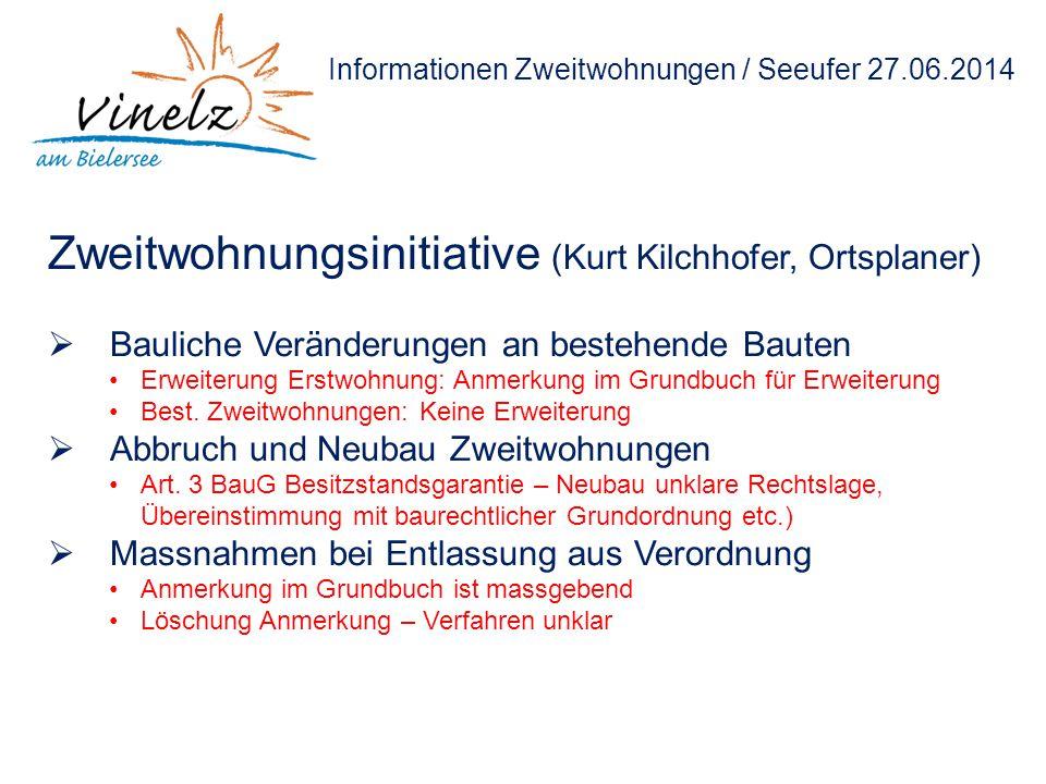 Informationen Zweitwohnungen / Seeufer 27.06.2014 Zweitwohnungsinitiative (Kurt Kilchhofer, Ortsplaner)  Bauliche Veränderungen an bestehende Bauten