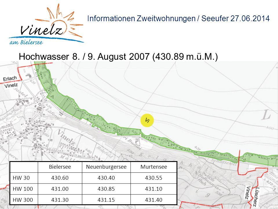Informationen Zweitwohnungen / Seeufer 27.06.2014 Hochwasser 8. / 9. August 2007 (430.89 m.ü.M.) BielerseeNeuenburgerseeMurtensee HW 30430.60430.40430