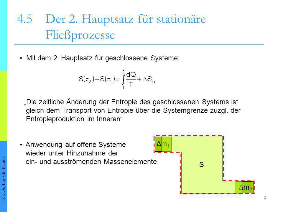 3 4.5Der 2.Hauptsatz für stationäre Fließprozesse Prof.