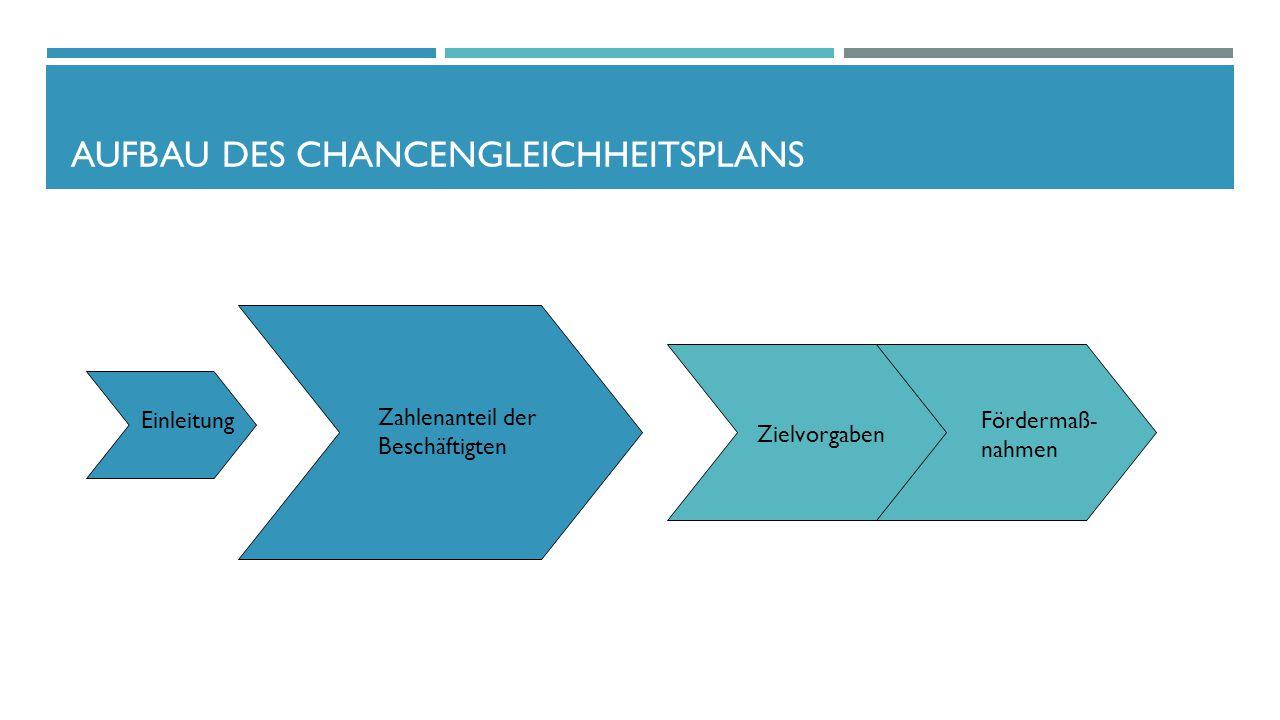 AUFBAU DES CHANCENGLEICHHEITSPLANS Einleitung Zahlenanteil der Beschäftigten Zielvorgaben Fördermaß- nahmen