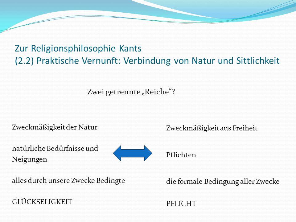 """Zur Religionsphilosophie Kants (2.3) Praktische Vernunft: Postulatenlehre, ethikotheologischer Gottesbeweis und reiner Vernunftglaube Definition der Religion als """"Erkenntnis unserer Pflichten als göttlicher Gebote ."""