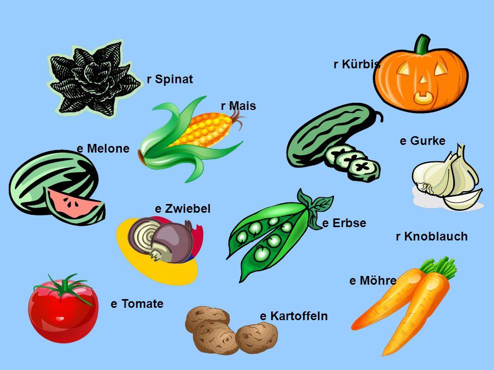 r Spinat r Mais r Kürbis e Melone e Gurke e Zwiebel e Erbse r Knoblauch e Tomate e Kartoffeln e Möhre