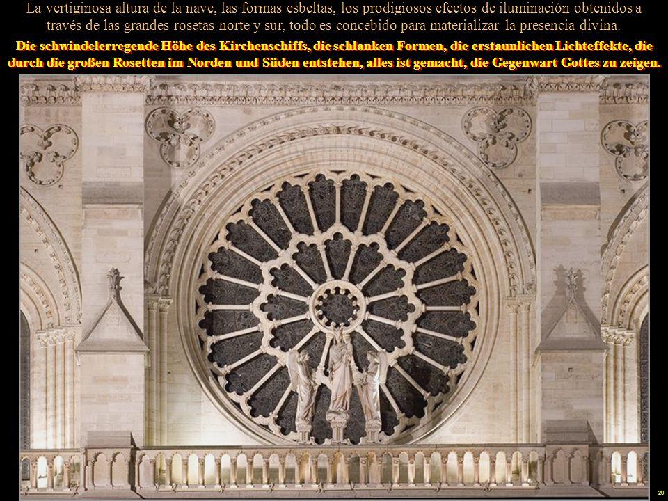 19 Die gotische Architektur zeichnet sich durch die kombinierte Verwendung von Kreuz- rippengewölben und Strebepfeilern aus, eine Technik, die erlaubt, daß Fenster Wände ersetzen, und sich bis zum Himmel erhöhen.
