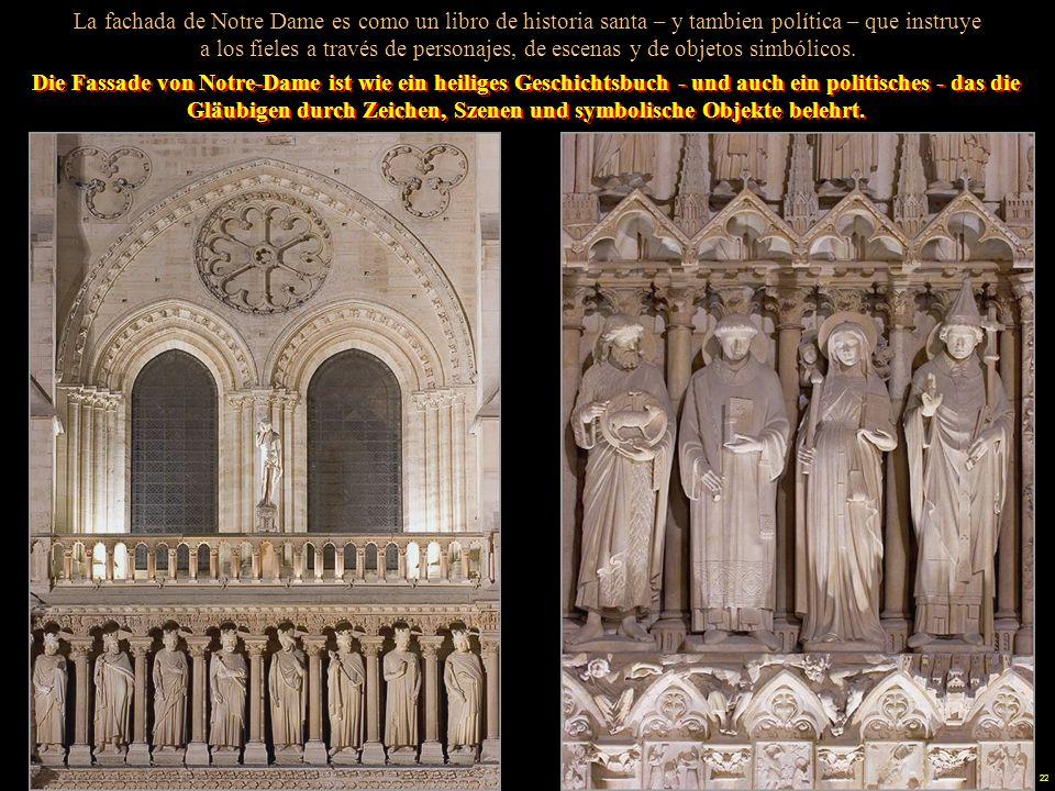 21 Notre Dame, como todas las iglesias medievales, estaba completamente decorada con frescos en el interior. El uso del color era una forma de dar glo
