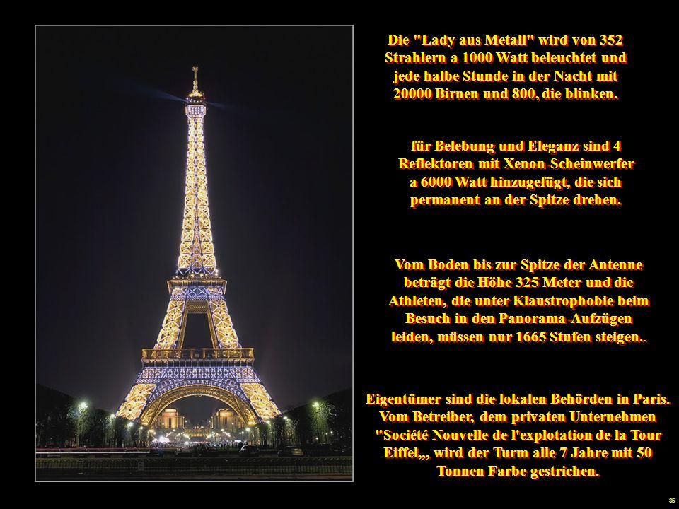 """34 La """"Dama de Metal"""" es iluminada por 352 proyectores de 1000 Watts y centalla cada media hora por la noche con 20000 ampollas y 800 parpadeantes. Pa"""