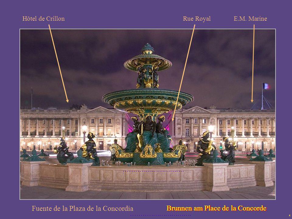 4 Fuente de la Plaza de la Concordia Buen ejemplo del clasicismo es la place de la Concorde, diseñada por Gabriel en 1757.