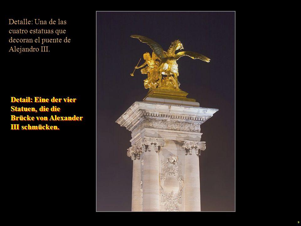 9 Detalle: Una de las cuatro estatuas que decoran el puente de Alejandro III.