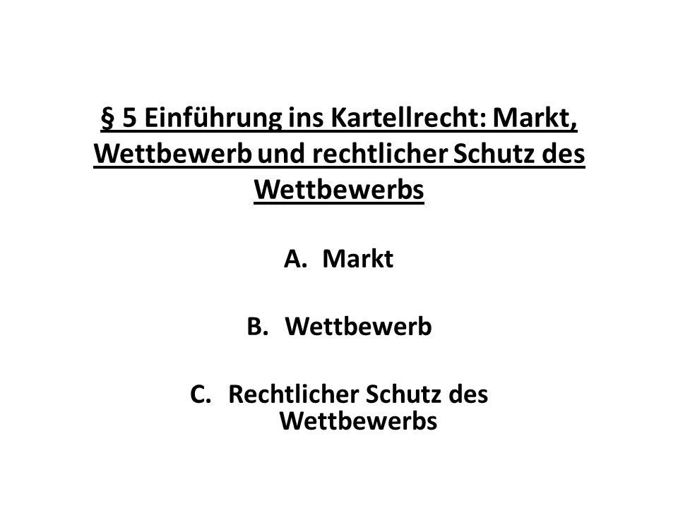 § 5 Einführung ins Kartellrecht: Markt, Wettbewerb und rechtlicher Schutz des Wettbewerbs A.Markt B.Wettbewerb C.Rechtlicher Schutz des Wettbewerbs
