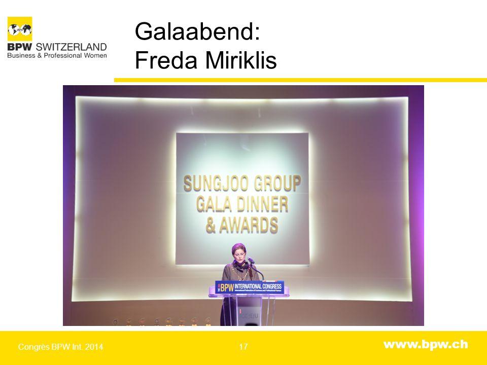 www.bpw.ch Galaabend: Freda Miriklis Congrès BPW Int. 201417