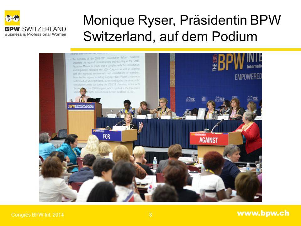 www.bpw.ch Resolution von Antoinette Rüegg, Past Intl President angenommen Congrès BPW Int. 20149