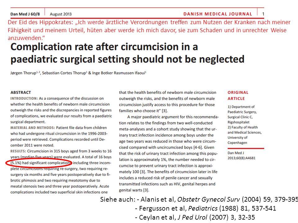 Siehe auch: - Alanis et al, Obstetr Gynecol Surv (2004) 59, 379-395 - Fergusson et al, Pediatrics (1988) 81, 537-541 - Ceylan et al, J Ped Urol (2007)