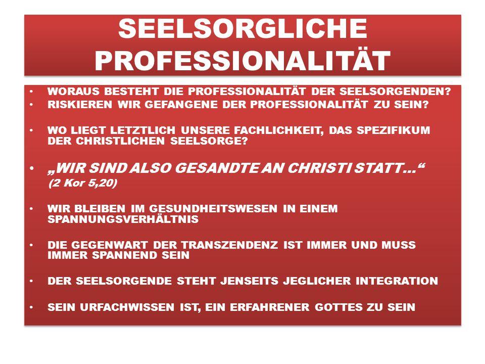 SEELSORGLICHE PROFESSIONALITÄT WORAUS BESTEHT DIE PROFESSIONALITÄT DER SEELSORGENDEN.
