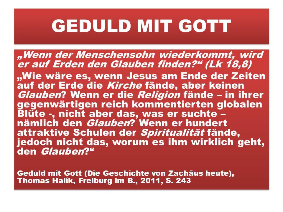 """GEDULD MIT GOTT """"Wenn der Menschensohn wiederkommt, wird er auf Erden den Glauben finden? (Lk 18,8) """"Wie wäre es, wenn Jesus am Ende der Zeiten auf der Erde die Kirche fände, aber keinen Glauben."""