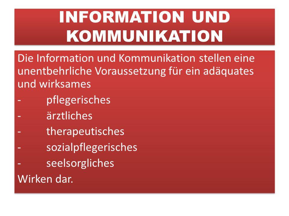INFORMATION UND KOMMUNIKATION Die Information und Kommunikation stellen eine unentbehrliche Voraussetzung für ein adäquates und wirksames -pflegerisches -ärztliches -therapeutisches -sozialpflegerisches -seelsorgliches Wirken dar.