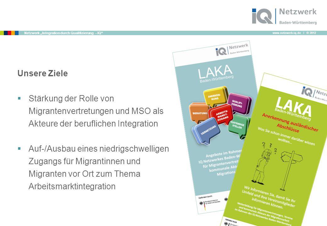"""www.netzwerk-iq.de I © 2012 Netzwerk """"Integration durch Qualifizierung – IQ Unsere Ziele  Stärkung der Rolle von Migrantenvertretungen und MSO als Akteure der beruflichen Integration  Auf-/Ausbau eines niedrigschwelligen Zugangs für Migrantinnen und Migranten vor Ort zum Thema Arbeitsmarktintegration"""
