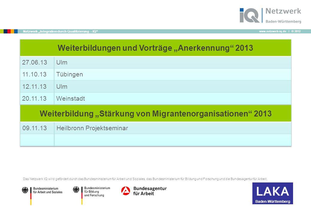 """www.netzwerk-iq.de I © 2012 Netzwerk """"Integration durch Qualifizierung – IQ Das Netzwerk IQ wird gefördert durch das Bundesministerium für Arbeit und Soziales, das Bundesministerium für Bildung und Forschung und die Bundesagentur für Arbeit."""