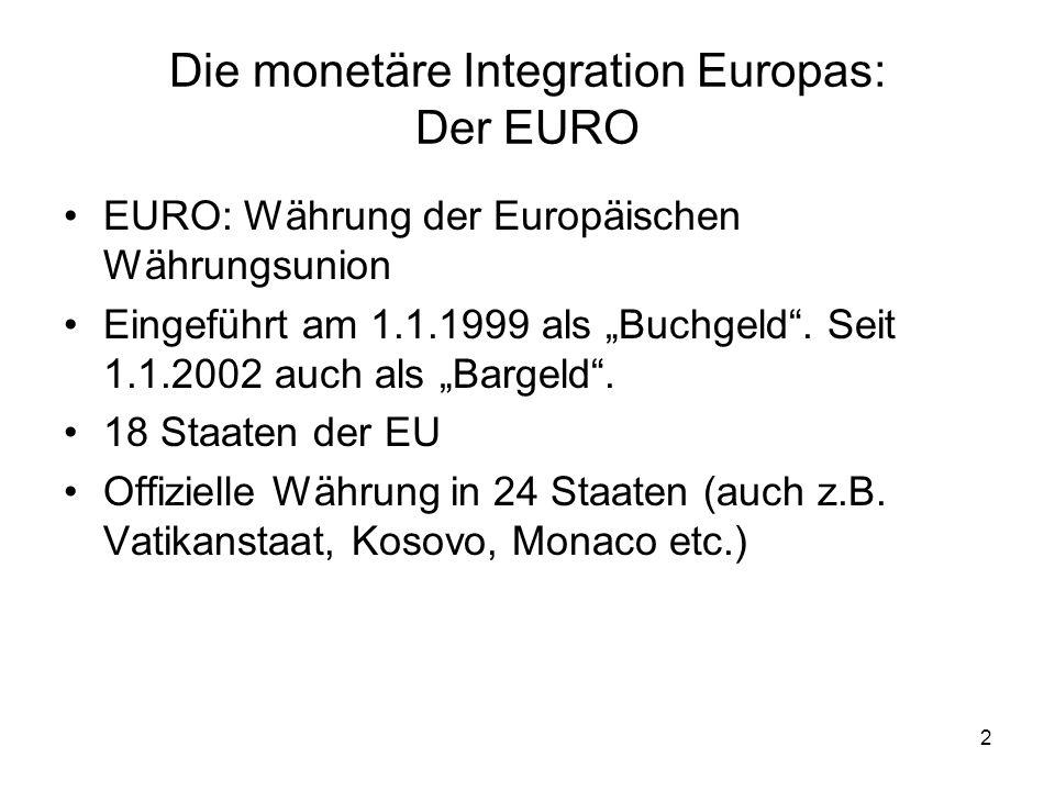 33 Das Europa der zwei Geschwindigkeiten Ein wichtiger Aspekt des Maastricht-Vertrages war, dass er zum ersten Mal bei einer größeren integrativen Maßnahme einige Länder nicht berücksichtigte Großbritannien –Die damalige Premierministerin Thatcher war strikt gegen eine Währungsunion –Als Großbritannien realisierte, dass der Plan von anderen EU-Ländern mit großem Ernst vorangetrieben wurde, fand sich Großbritannien von einer Verhandlung abgeschnitten, die die Zukunft Europas entscheidend gestalten würde