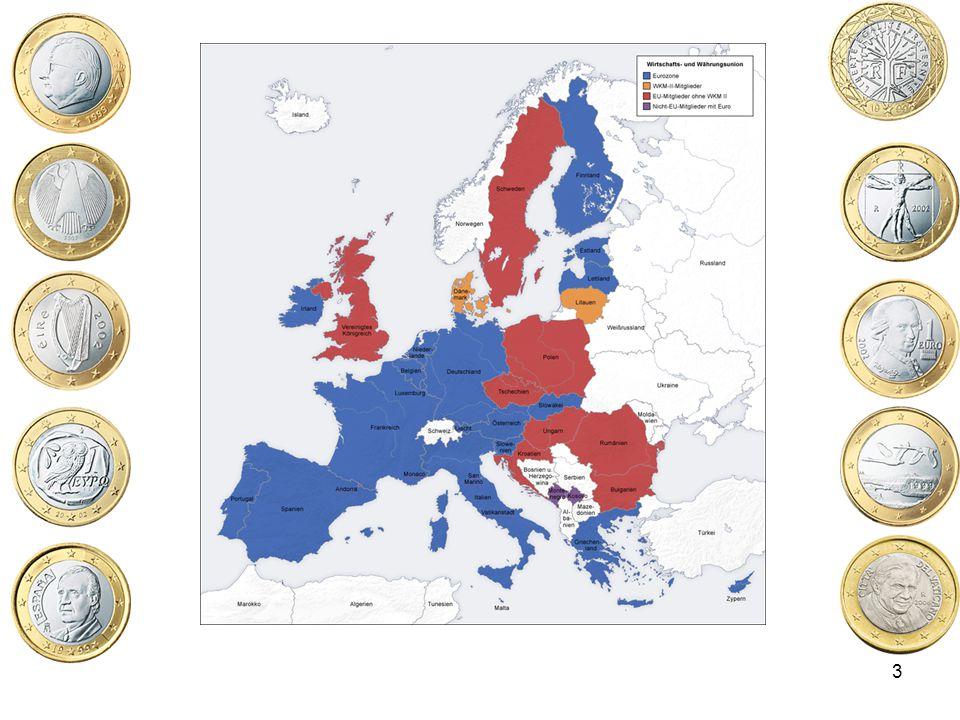 24 Ratifizierung des Maastricht Vertrages Eine Klausel setzte fest, dass zur Einführung des Maastricht- Vertrages, alle Unterzeichnerländer den Vertrag ratifizieren mussten Drei Länder hielten Referenda (Volksabstimmungen) bezüglich der Ratifizierung ab: Frankreich, Irland und Dänemark Dänemark –1992: Vertrag von Maastricht (Nein: 52% - Ja 48% - Wahlbeteiligung 83%) –1993: Vertrag von Maastricht- verändert um die Möglichkeit des einseitigen Ausstiegs von Dänemark (Ja 57% - Nein 43% - Wahlbeteiligung 86%) Frankreich –1992: 51% Ja, Wahlbeteiligung 70% Irland –1992: 68,7% Ja, Wahlbeteiligung 57% Der Vertrag von Maastricht trat am 1.