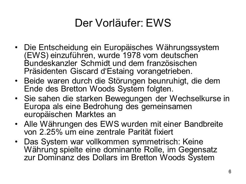 7 Probleme mit dem EWS Obwohl keine Währung als Ankerwährung bestimmt wurde, standen die Deutsche Mark und die Deutsche Bundesbank unzweifelhaft im Zentrum des EWS Aufgrund ihrer relativen Stärke und einer Geldpolitik, die eine niedrige Inflationsrate zum Ziel hatte, mussten alle anderen Währungen dieser Vorgabe folgen.
