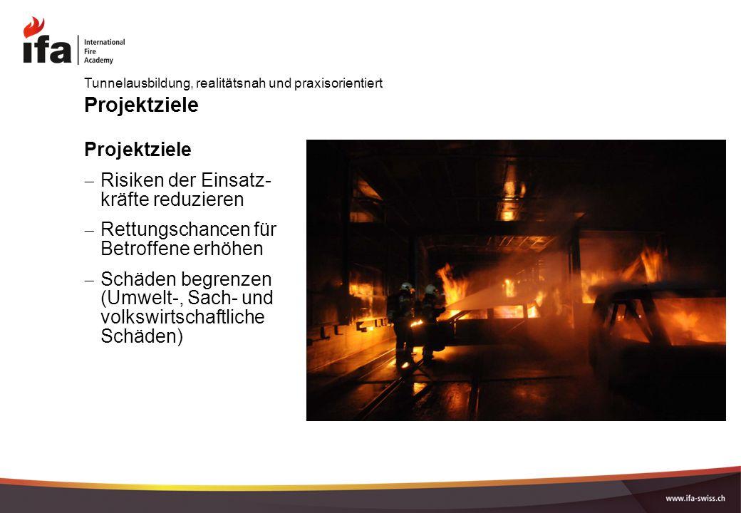 Projektziele  Risiken der Einsatz- kräfte reduzieren  Rettungschancen für Betroffene erhöhen  Schäden begrenzen (Umwelt-, Sach- und volkswirtschaftliche Schäden) Tunnelausbildung, realitätsnah und praxisorientiert