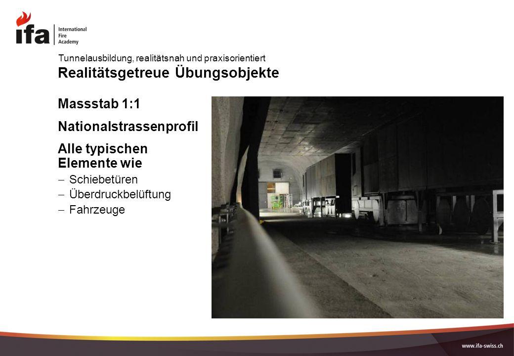 Realitätsgetreue Übungsobjekte Massstab 1:1 Nationalstrassenprofil Alle typischen Elemente wie  Schiebetüren  Überdruckbelüftung  Fahrzeuge Tunnelausbildung, realitätsnah und praxisorientiert