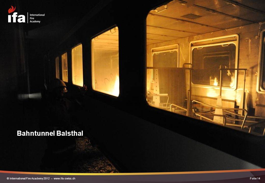 Bahntunnel Balsthal Folie 14© International Fire Academy 2012 – www.ifa-swiss.ch